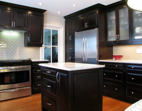 Espresso Stained Dark Wood Kitchen
